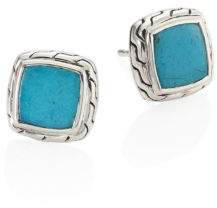 John Hardy Classic Chain Turquoise& Sterling Silver Stud Earrings