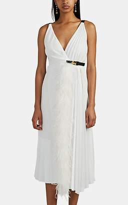 Prada Women's Feather-Trimmed Pleated Wrap Dress - White