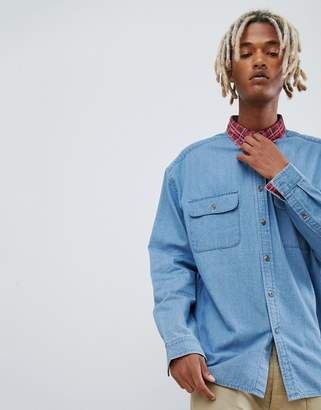 Asos DESIGN oversized denim shirt with check cord collar and inner cuffs