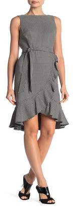 Calvin Klein Check Ruffle High/Low Hem Dress