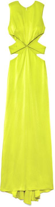 Cushnie et Ochs Preorder Keylime Hammered Satin Gown