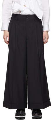 Comme des Garcons Black Wool Pinstripe Trousers