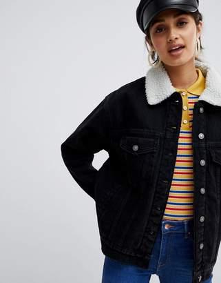 Bershka Fleece Collar denim jacket