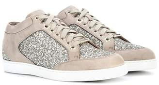 Jimmy Choo Miami suede and glitter sneakers