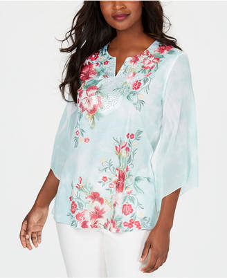 JM Collection Petite Chiffon-Sleeve Embellished Top