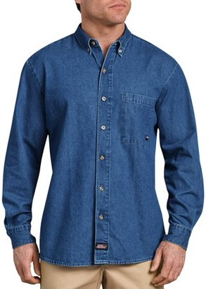 Dickies Men's Long Sleeve Button Down Denim Shirt