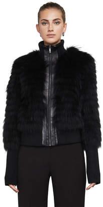 BCBGMAXAZRIA Jillian Fur Bomber Jacket