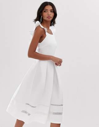 Asos Design DESIGN lace insert ruffle back midi prom dress