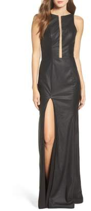 La Femme Faux Leather Open Back Gown