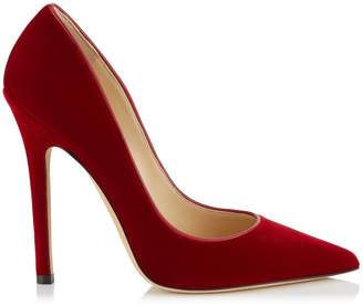 Jimmy Choo ANOUK Red Velvet Pointy Toe Pumps