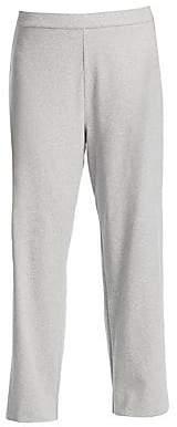 Joan Vass Women's Stretch-Cotton Interlock Wide-Leg Pants