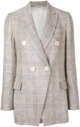 Brunello Cucinelli houndstooth double breasted blazer