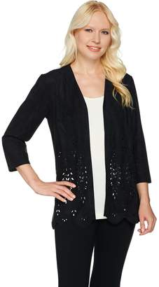 Joan Rivers Classics Collection Joan Rivers Faux Suede Cardigan with Laser Cut Detail