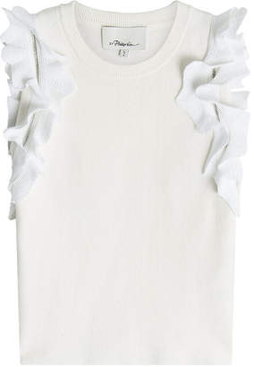 3.1 Phillip Lim Ruffled Knit Top with Cotton