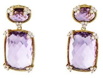 Judith Ripka 18K Amethyst & Diamond Earrings
