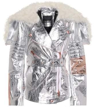 Metallic leather biker jacket