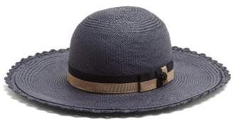 Maison Michel Alice Straw Hat - Womens - Navy