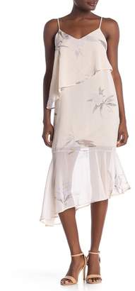 4SI3NNA the Label V-Neck Tiered Woven Midi Dress
