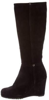 Prada Round-Toe Wedge Boots Black Round-Toe Wedge Boots