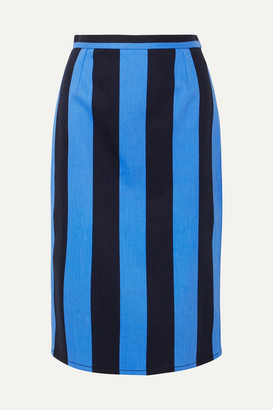 Prada Striped Denim Midi Skirt - Blue