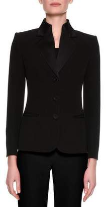 Giorgio Armani Satin-Collar Tuxedo Jacket, Black