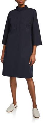 Lafayette 148 New York Mitchell Collared 3/4-Sleeve Cotton Bi-Stretch Dress