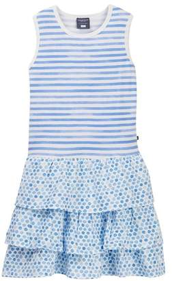 Toobydoo Jade Watercolor Stripe & Dot Ruffle Dress (Toddler, Little Girls, & Big Girls)