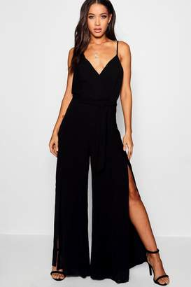 boohoo Strappy Wide Leg Jumpsuit