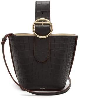 Sevres crocodile-effect buckle-handle leather bag