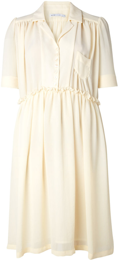 See by Chloé Plissé Chiffon Shirt Dress