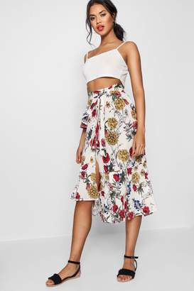 boohoo Woven Floral Ruffle Belted Midi SKirt