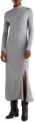 MANGO Knit Mockneck Long Dress