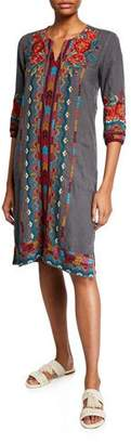 Johnny Was Ornelia Weekend Linen Embroidered Shift Dress
