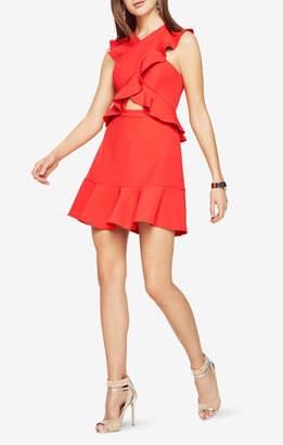 BCBGMAXAZRIA Careen Ruffled Cutout Dress