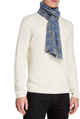 Neiman Marcus Cashmere Windowpane Plaid Scarf