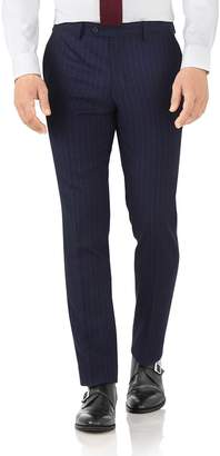 Charles Tyrwhitt Navy Stripe Slim Fit Flannel Business Suit Wool Pants Size W40 L38