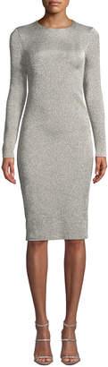 Ralph Lauren Crewneck Long-Sleeve Metallic-Jersey Body-con Midi Dress