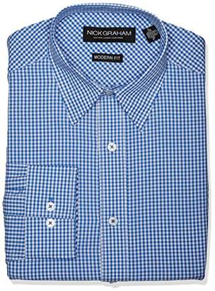 Nick Graham Men's Modern Fit Gingham Point Collar Dress Shirt