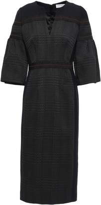 Amanda Wakeley Cady-paneled Grosgrain-trimmed Houndstooth Jacquard Midi Dress