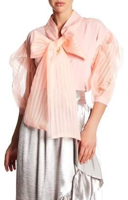TOV Translucent Stripe Kimono Blouse