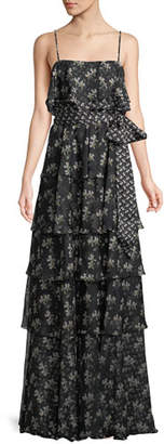 Jill Stuart Tiered Floral Chiffon Sleeveless Gown