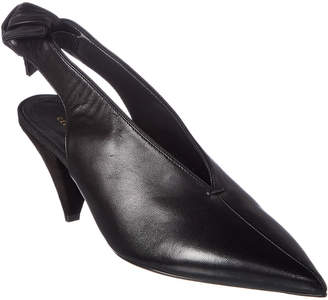 Celine Soft V-Neck Leather Slingback Pump