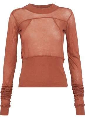 Rick Owens Cropped Ribbed Knit-Paneled Slub Cotton-Jersey Top
