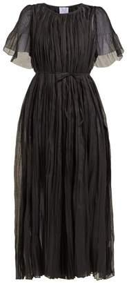 Thierry Colson Sabina Pleated Cotton Blend Dress - Womens - Black