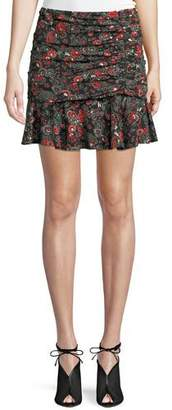 Veronica Beard Noon Floral-Print Ruched Silk Skirt