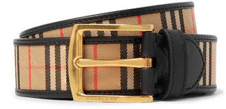 Burberry 3.5cm Tan Leather-trimmed Checked Twill Belt - Tan