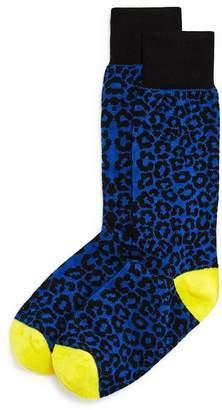 Bloomingdale's The Men's Store at Color-Block Cheetah Socks - 100% Exclusive