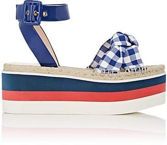 Gucci Women's Crisscross-Strap Gingham Platform Sandals - Blue