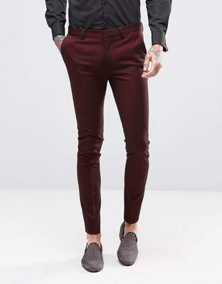 Super Skinny Suit Trousers In Burgundy Twist