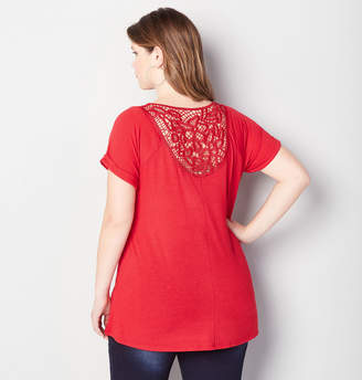 Avenue Caged Lace Back Tee